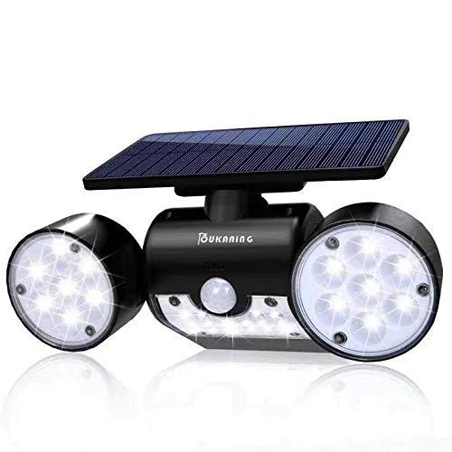 OUKANING Solar Lights Outdoor Motion Sensor Zonne Tuin 30 LED Super Helder met Solar IP65 Waterdichte Wandlamp Outdoor Lampen 360 ° Draaibare Dubbele Koplamp voor Garage