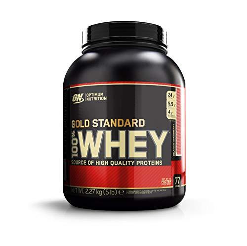 Optimum Nutrition 100% Whey Gold Standard, Proteine in Polvere per lo Sviluppo Muscolare con Glutammina e Aminoacidi, Fragola, 2.22 kg - 2.28 kg, 77 Porzioni, Il Packaging Potrebbe Variare