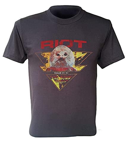 YOUJING Riot Band T-Shirt USA Tour 81-82 Fire Down Under Retro Men Dark Gray Shirt Black 3XL