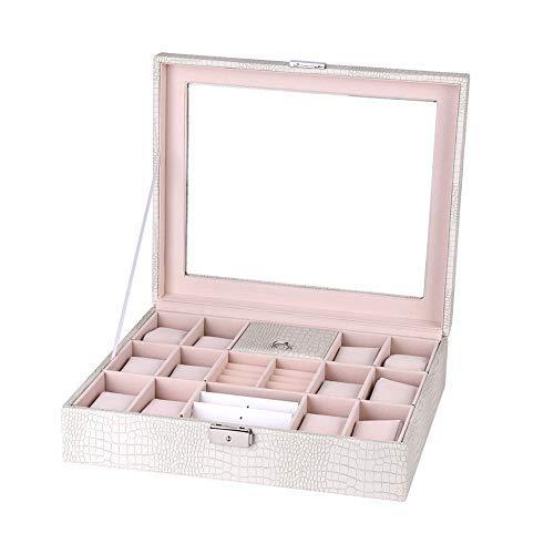 PU Lint Schmuckkästchen mit Ohrringen, Verriegelung, Armbänder, Ringe, Uhren, Schmuckorganizer, Aufbewahrungsbox mit Schloss (weiß)