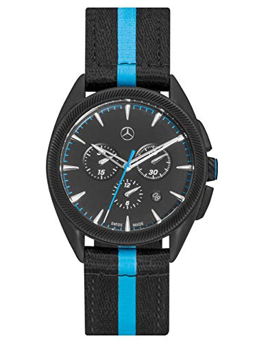 Mercedes-Benz Collection Chronograph Herren Sport Fashion M3 | Herrenuhr/Armbanduhr aus Edelstahl & Nylon | schwarz, blau