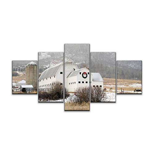 Skipvelo mcpollin barn in Park City Utah Utah Landscapes and Pictures Wall Art Canvas Prints Pictures Paintings Artwork Home Decor Stretched and Framed - 5 Pieces