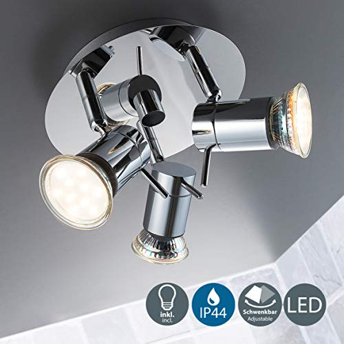 LED Baddeckenleuchte I schwenkbar I Chrom I Deckenleuchte I Deckenlampe I Badezimmer-Lampe I warm-weiß I 3 x 3 W I 230 V I IP44 I Produkthöhe: 125 mm