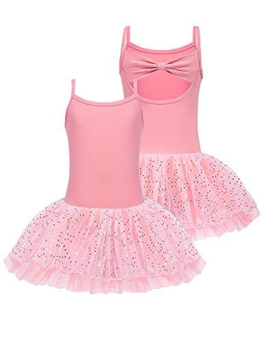 Bricnat Ballettkleid Mädchen Ballettkleidung Kinder Ärmellos Tanzkleid Ballettanzug Baumwolle Ballett Trikot Body Wickelrock Pink Rosa Tanzbekleidung Tanzbody mit Rock Tütü mit Schleife