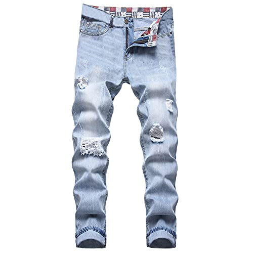 Looekveoyi Herren Stretch Röhrenjeans Outdoor Bekleidung Lange Latzhose Vintage Jeanshosen Skinny Fit Denim Lange Arbeitshose Trousers Slim Fit Jean Jogginghose