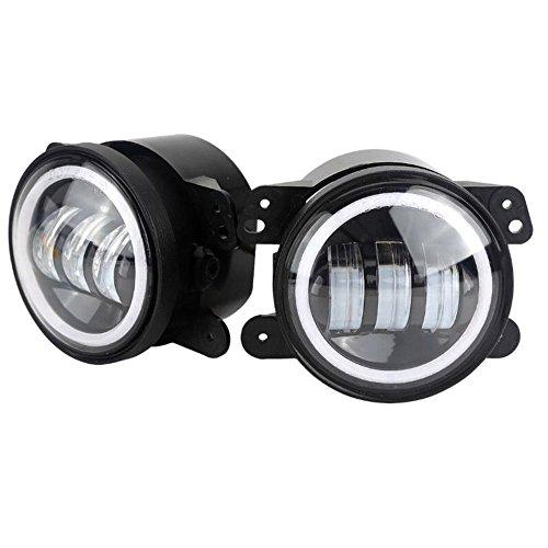 Lzcat 10,2 cm 60 W 6000lm Feux de Brouillard pour LED Feu de brouillard 2 pcs Kit avec Halo Blanc DRL + Ambre Turn Signal