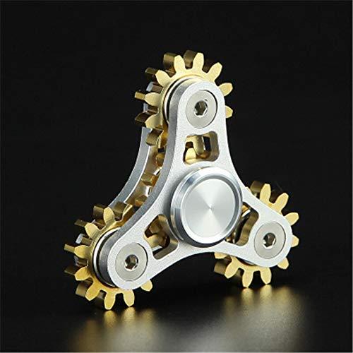 Khosd Nuevos Engranajes Fidget Spinner Juguetes Metal Latón Engranaje Dedo Spinner Metal Spinner De Mano De Juguete EDC Spinning Top Alivio del Estrés para ADHD (Plata)