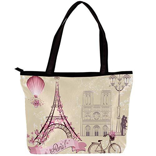 Xingruyun Damen Einkaufstaschen Top Handle Satchel Handtaschen Twill Stoff Mode Schulter Geldbörse Vintage Paris Eiffelturm Fahrrad 30x10.5x39cm