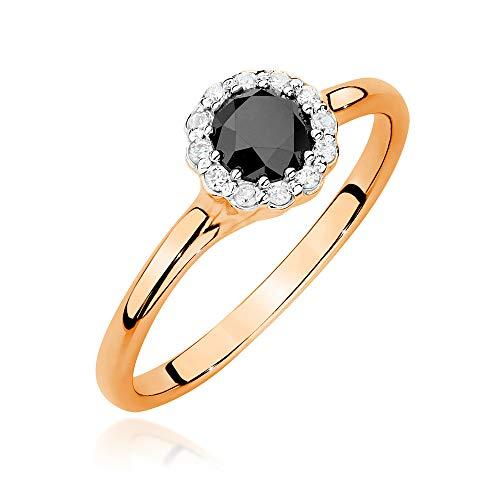 Anillo para mujer de oro rosa 585 de 14 quilates, con diamantes y brillantes