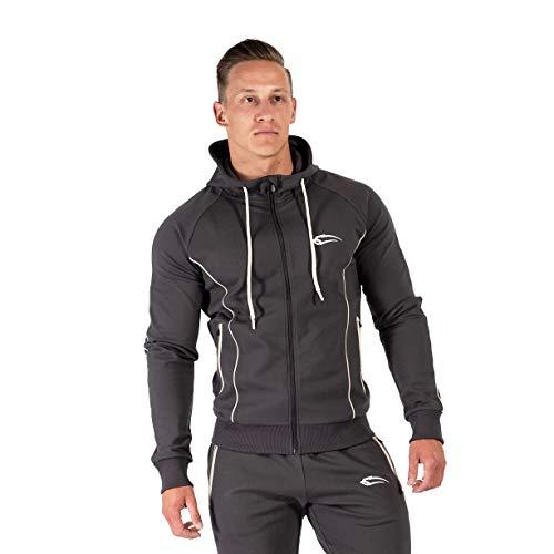 SMILODOX Herren Zip Hoodie Nightfall | Sweater für Sport Fitness & Freizeit | Longsleeve | Langarmshirt | Trainingsshirt Pullover | Sportshirt | mit Reißverschluss, Farbe:Anthrazit, Größe:S