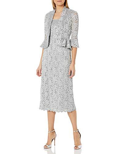 R&M Richards Women's Two Piece Lace Long Jacket Dress Missy, Silver, 16 (Apparel)