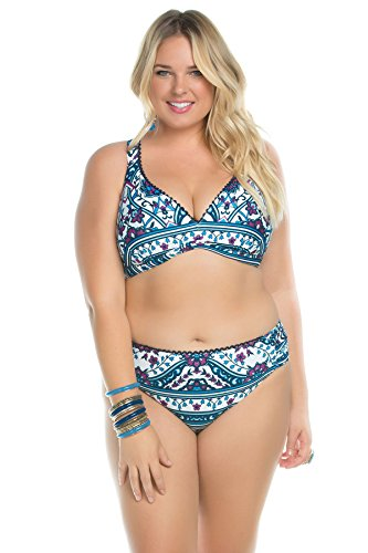 BECCA ETC Women's Plus Size Inspired Medallion Print Over The Shoulder Bikini Top, Multi, 1X