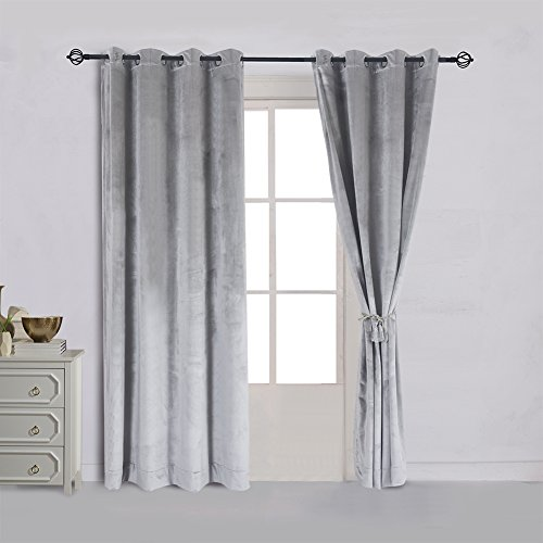Cherry Home Super Soft Luxury Velvet Smoky Silver Gray Classic Blackout Curtains Panels Home Theater Grommet Drapes Eyelet 52Wx63L inch Light Grey,2 Panels