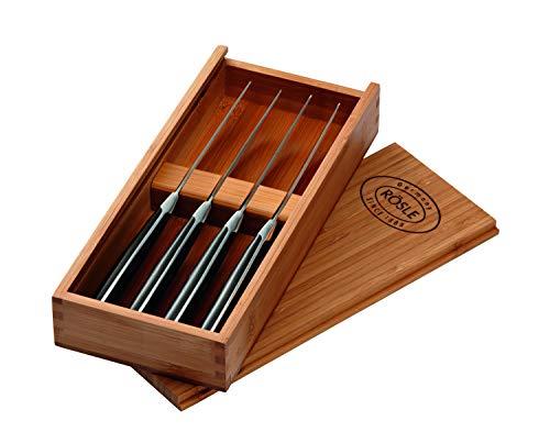 RÖSLE Steakmesser-Set 4-tlg., Hochwertige Steakmesser mit scharf geschliffener Klinge aus Klingenspezialstahl, POM, inkl. praktischer Holzbox
