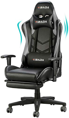 Hbada Gaming Chair Racing Style Ergonomic High Back Computer Chair with Height Adjustment, Headrest and Lumbar Support E-Sports Swivel Chair, Gray with Footrest