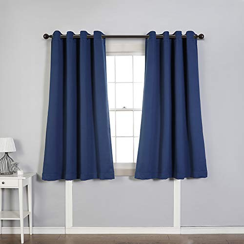 MYSKY HOME Solid Grommet top Thermal Insulated Window Blackout Curtains for Bedroom, 52 x 63 Inch, Navy, 1 Panel