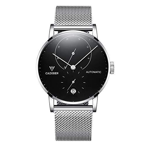 Cadisen Herren Automatik-Uhr Minimalistische Kalender Armbanduhr mit Mesh-Armband