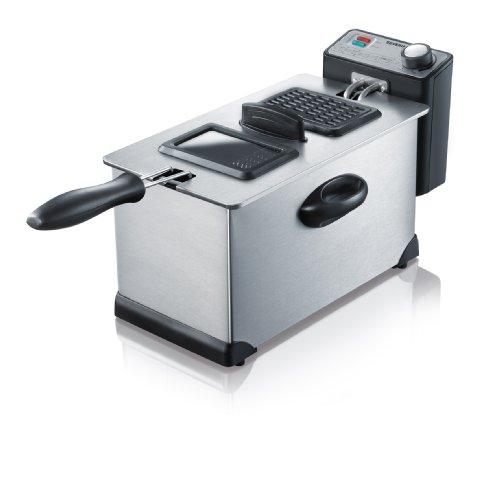 SEVERIN FR 2431 Fritteuse (2.000 W, 3 L Kapazität, 400 g Frittiermenge) edelstahl/schwarz