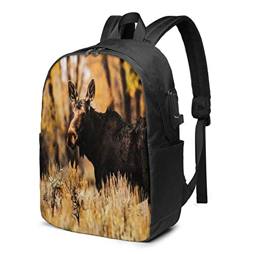 Laptop Backpack with USB Port Moose Rain, Business Travel Bag, College School Computer Rucksack Bag for Men Women 17 Inch Laptop Notebook