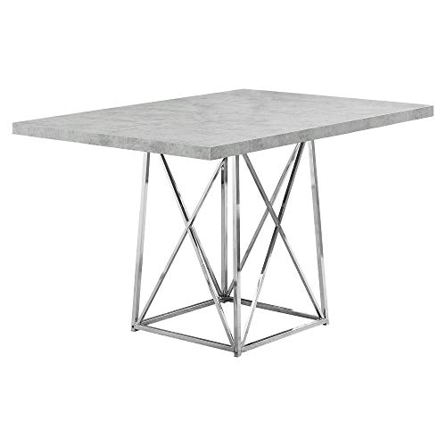 Monarch Specialties I Dining Table Metal Base, 36' x 48', Grey Cement/Chrome