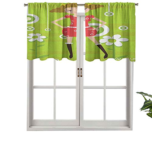 Hiiiman Cortinas cortas con cenefa, bloqueando la luz, a la moda, Taurus joven de pie sobre el fondo verde floral para adolescentes, juego de 2, cortinas de ventana de 137 x 61 cm para sala de estar