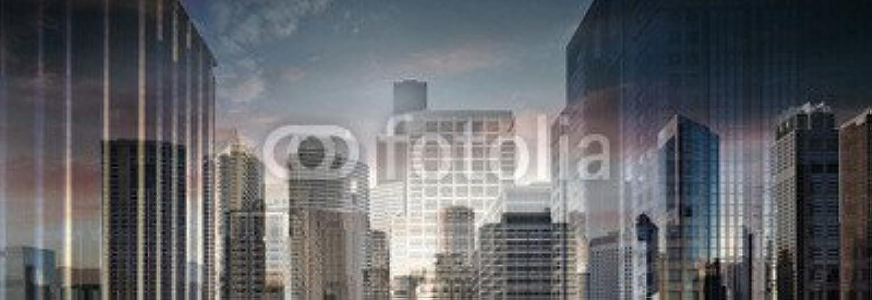 AluminiumDibond image 90 x 30 cm   Abstract Business City Center , image on a AluminiumDibond