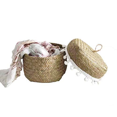 SZETOSY Caja de pasto marino – GOODCHANCEUK Sundries Stroage Cesta con cubierta para caramelos, medicinas, cosméticos, desechos 13 x 13 x 9 cm, color natural