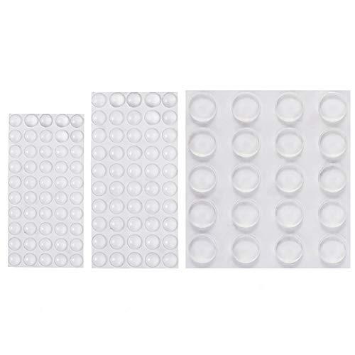 Wanxida 120 Stück Schutzpuffer Türpuffer Anschlagdämpfer Möbelpuffer Puffer Elastikpuffer Transparent Selbstklebend (8x2 mm, 10x3 mm, 22x3 mm)