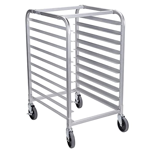 Hally Bun Pan Rack 10 Tier with Wheels, Commercial Bakery Racking of Aluminum for Full & Half Sheet - Kitchen, Restaurant, Cafeteria, Pizzeria, Hotel and Home, 26