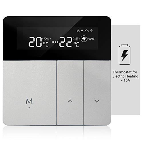 iolloi Termostato de WiFi 3A termostato de habitación, Digital Termostatos programable de habitación, Compatible con Alexa Echo/Google Home/Smart Life (Calefacción de eléctrica)