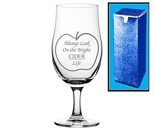 Regalo grabado tallo pinta sidra de cristal | Always Look on the Bright sidra Life