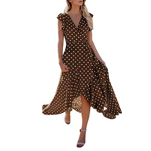 Tosonse Vestidos Boho para Mujer Vestido Largo con Estampado De Lunares Y Manga con Volantes En La Playa De Verano