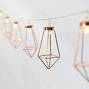 Festive Lights Metal String Lights - Rose Gold - Warm White LEDs - Battery Operated - Timer:Kostenlosefilme