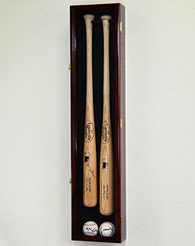 2 Baseball & Bat Display Case Cabinet Wall Mount Holder Rack (Black Background, Black Finish)