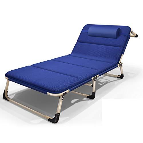 FUFU Tumbonas Jardin Exterior Cama Plegable Sillón reclinable Cama Individual Oficina Oficina Almuerzo Cama Acompañamiento de la Cama Ancho 68 cm Algodón Pad Tumbona Plegable (Color : Blue 1)