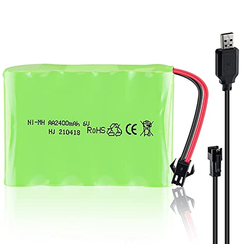Hootracker 6V 2400mAh Ni-MH AA Rechargeable Battery Pack with SM-2P 2Pin Plug and USB Charger Cable for RC Truck Cars Vehicles