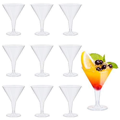 48 Plástico Desechable Vasos De Martini -Transparentes 210ml - Durable Irrompible Reutilizable Reciclable - Copas de Martini, Vasos de Cóctel para Celebración Fiestas, Cumpleaños, Navidad, Año Nuevo