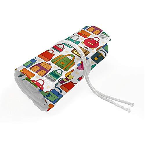 ABAKUHAUS Mode Etui met Rolomslag voor Pennen, Verschillende Vrouw Handtassen, Duurzame & Draagbare Potloodetui, 36 Vakjes, Veelkleurig