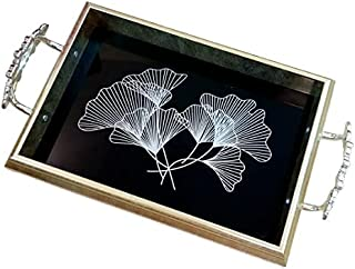 Luxury mirror serving tray with handles (33 x 24 x 5 ) cm silver patterned serving tray with mirror printing glass with ha...
