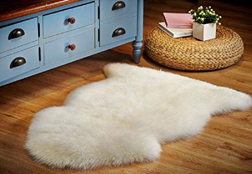 OKAYDA Genuine New Zealand Sheepskin Area Rug Soft Lambskin Decorative Rug for Bedroom Sofa Floor One Pelt