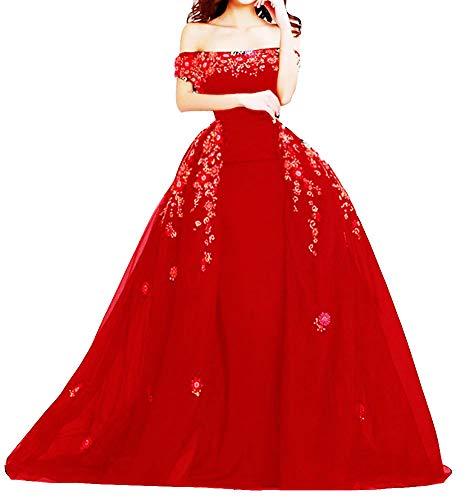 Snow Lotus Damen Floral Applique Meerjungfrau Langes Ballkleid mit Abnehmbarer Schleppe Satin Abendkleider Gr. 52, rot