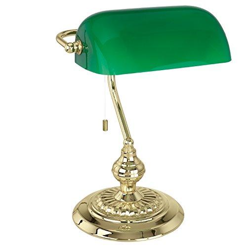 EGLO Tischlampe Banker, 1 flammige Tischleuchte Vintage, Retro, Art Deco, Klassik, Schreibtischlampe aus Stahl und Glas, Nachttischlampe, Bürolampe, Messing, Grün, Lampe mit Zug-Schalter, E27 Fassung