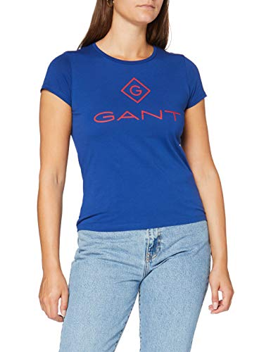 GANT D1. Color Lock Up SS T-Shirt Camiseta, Crisp Blue, XX-Large para Mujer