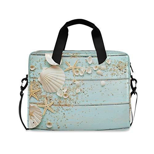 Yulife Seashells Starfish Theme Laptop Bag Sleeve Case for Women Men Sea Shells Briefcase Tablet Messenger Shoulder Bag with Strap Notebook Computer Case 14 15.6 16 Inch for Kids Girls Business