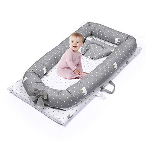 Nido de Bebé Dormir Recien Recién Nacido, Mooedcoe Cama Tumbona de Bebé Portátil de Viaje, Bebé Cuna Sueño, Respirable, Algodón 100% con Almohada 48 x 82.8cm (durante 0-24 meses)