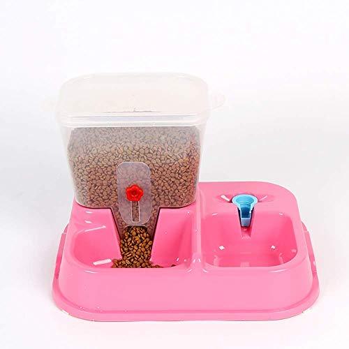 Futterautomat 2kg große Kapazitäts-Rosa Haustier Hundenapf Katzennapf Doppel Bowl Trinkbrunnen Automatischer Füttern Haustier-Wasser-Hygiene-Assured Feeding Kunststoff Nizza aquarium