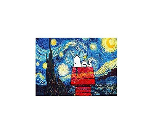 Zhxx Pintar Por Numeros Adultos Snoopy Bajo Las Estrellas Paisaje Boda Ation Arte Foto Regalo Para Niño Sobre Lienzo Con Marco 40X50Cm