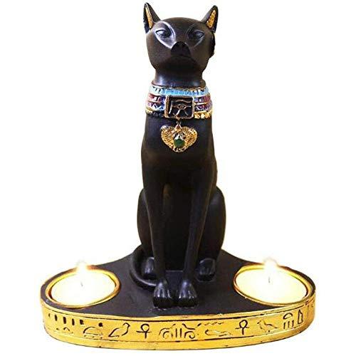 WZF Estatuilla de Estatua de Gato Egipcio, decoración de Escultura Negra, Adorno Tallado en Resina Vintage, Manualidades de Mesa, coleccionables para Amantes de los Gatos, Negro 17x10x19cm