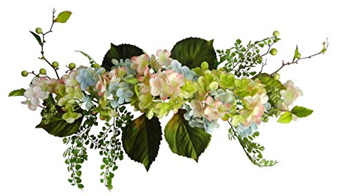 """Ella and Lulu Dessign for Outdoor Indoor Window Centerpiece Welcome Wedding Party Wall Décor, One Size 24"""" Hydrangea Swag, Blue, Pink, Green"""