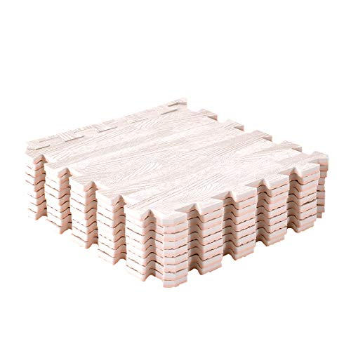 Amazon Brand - Umi Tapis de Sol imbriqués en Bois Mousse(6pieces-24SFT,9pieces-9SFT,18pieces,18SFT) (chêne Blanc, 30cmx30cm 9 Tapis-9 Square Feet)